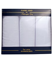 3 boxed white cotton hankies