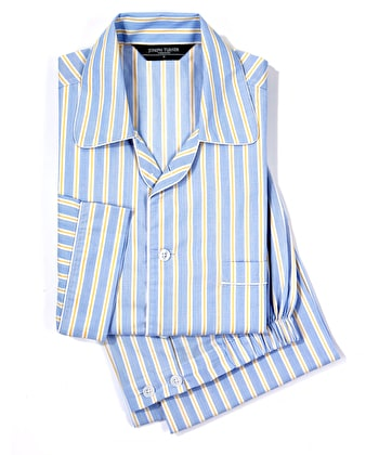 Pyjamas - Blue/Yellow Stripe - Fine Cotton