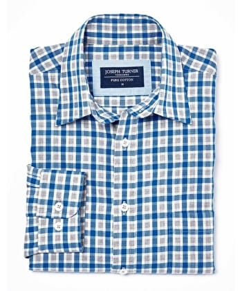 Brushed Cotton Check Shirt - Blue/Grey