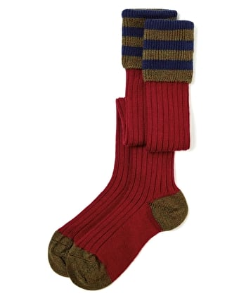 Contrast Top Country Socks - Red/Olive/Navy