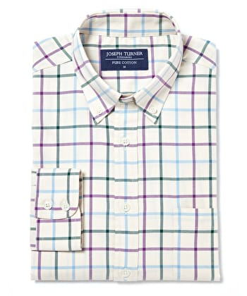 Button-Down Tattersall Check - Green/Purple