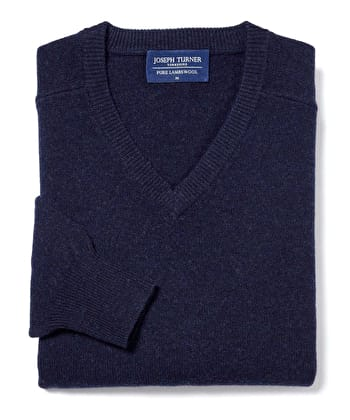 Lambswool Jumper - V Neck - Navy