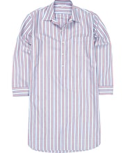 Nightshirt - Blue/Red Stripe - Brushed Cotton