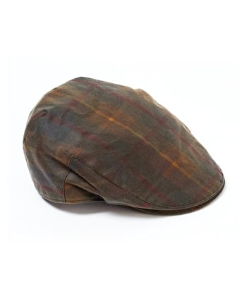 Harris Tweed Flat Cap - Tartan Waxed Cotton