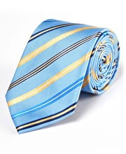 Yellow Stripes on Blue - Woven Silk Tie
