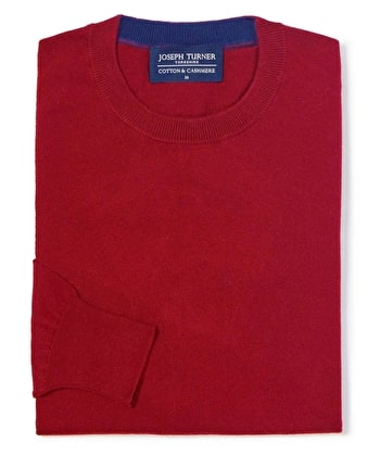 Cotton/Cashmere - Crew Neck - Red