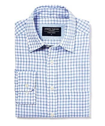 Linen Shirt - Long Sleeve - Blue/White Check