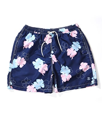 Swimming Trunks - Navy/Pink Hibiscus