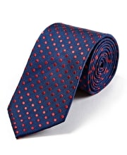 Red Polka Dots on Navy Woven Silk Tie