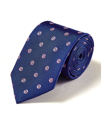 Pink Flowers on Blue Woven Silk Tie