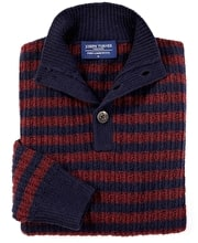 Lambswool Striped Rib Button Neck - Navy/Red