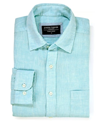 Linen Shirt - Long Sleeve - Aqua