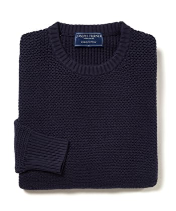 Textured Cotton Crew Neck Jumper - Navy