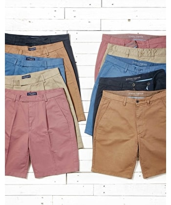 Cotton Twill Shorts - Pleat Front - Soft Red
