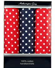 3 x boxed Spotty Hankie - 2 Red/1 Blue