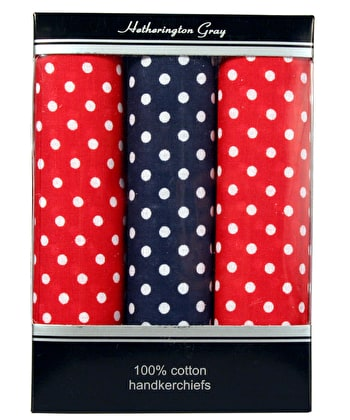 3 Boxed Polka Dot Handkerchiefs - 2 Red/1 Blue