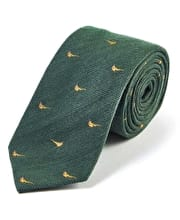 Pheasants on Green - Wool/Silk Tie