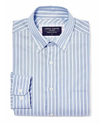 Button-Down Oxford Shirt - Blue/White Stripe