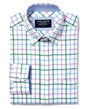 Button-Down Oxford Shirt - Green/Lilac Check