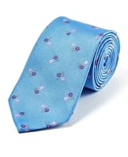 Pink/Lilac Flowers on Sky - Woven Silk Tie