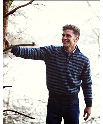 Lambswool Striped Rib Button Neck - Navy/Blue
