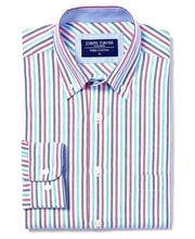Button-Down Oxford Shirt - Blue/Magenta Stripe