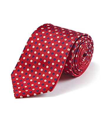 Navy/White Dots on Red Woven Silk Tie