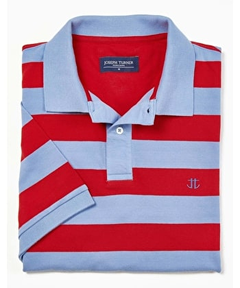 Striped Polo Shirt - Blue/Red