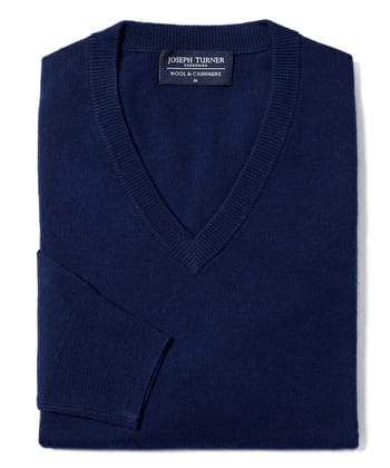 Wool/Cashmere Jumper - V Neck - Navy