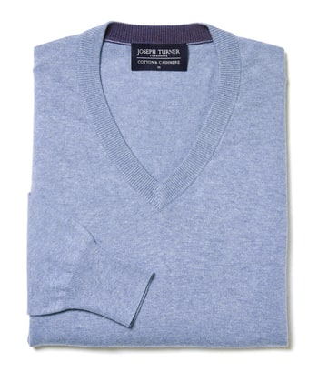 Cotton/Cashmere - V Neck - Sky