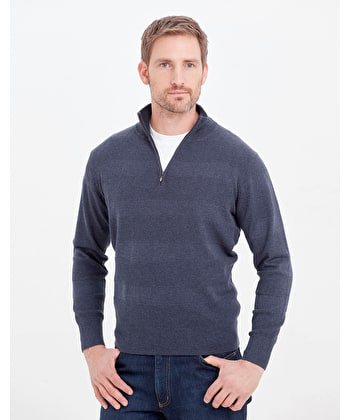 Cotton Textured Stripe Jumper - Half Zip - Navy