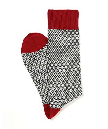 Diamond Knit Socks - Sky/Burgundy
