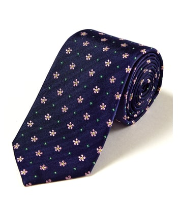 Pink/Green Floral on Navy - Woven Silk Tie