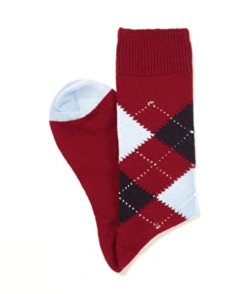 Argyle Socks - Dark Red/Navy/Sky