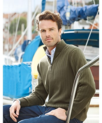 Ribbed Cotton Half-Zip - Olive