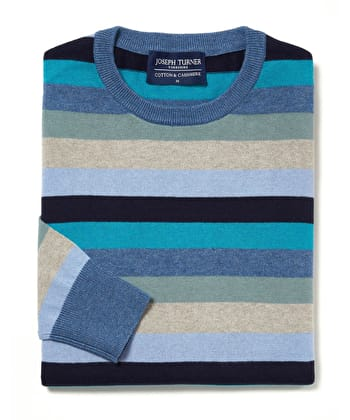 Cotton/Cashmere Stripe Jumper - Mens_Blue_Navy_Teal_Cotton_Cashmere_Stripe_Crew_Neck_Jumper_MKCCSCBNT_S.jpg