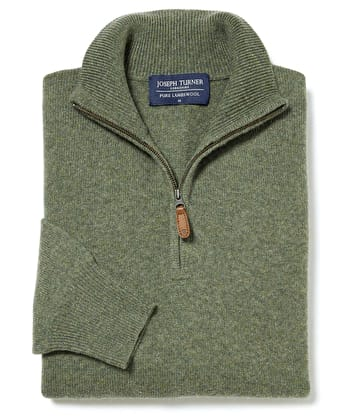 Lambswool Jumper - Half Zip - Green