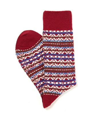 Fair Isle Socks - Olive/Red/Blue