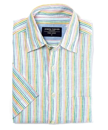 Linen Shirt - Short Sleeve - Multi Stripe