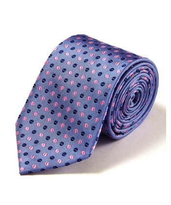 Pink Coffee Beans on Blue - Woven Silk Tie