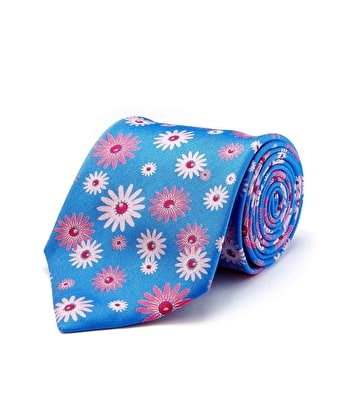 Pink/Blue Floral - Men's Printed Silk Tie