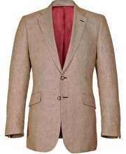 Wool/Linen Jacket - Brown/Red Check