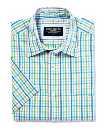 Weekend Shirt - Short Sleeve - Green/Pink/Blue Check