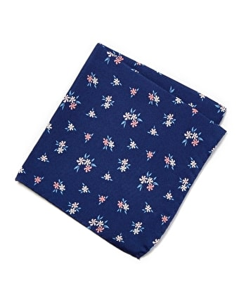 Silk Pocket Square - Pink Flower on Navy