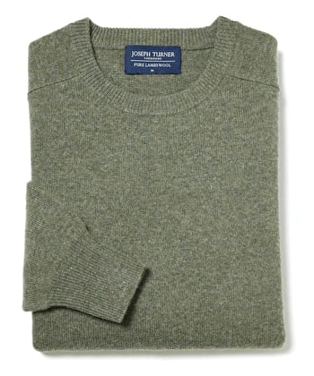 Lambswool Jumper - Crew Neck - Green
