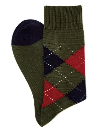 Argyle Socks - Olive/Red/Navy