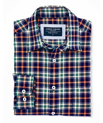 Brushed Cotton Check Shirt - Navy/Orange/Green