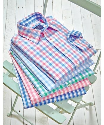 Casual Gingham Check Shirt - Green/Blue
