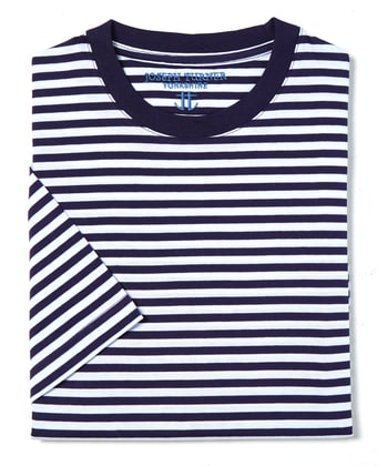 Cotton T-Shirt - Navy/White