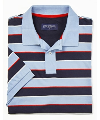 Striped Polo Shirt - Sky/Navy Jersey